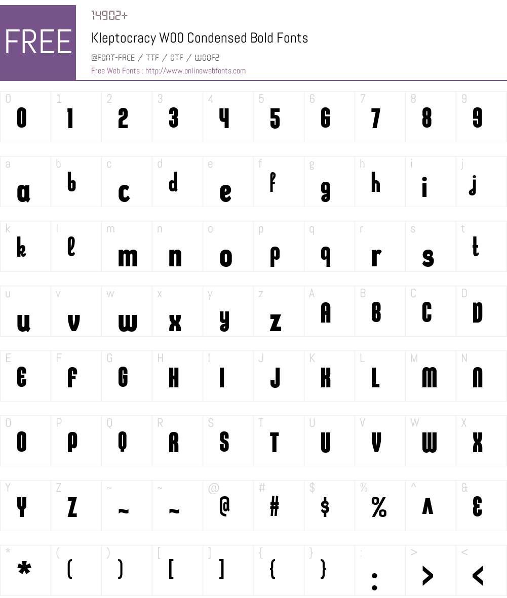 KleptocracyW00-CondBold Font Screenshots