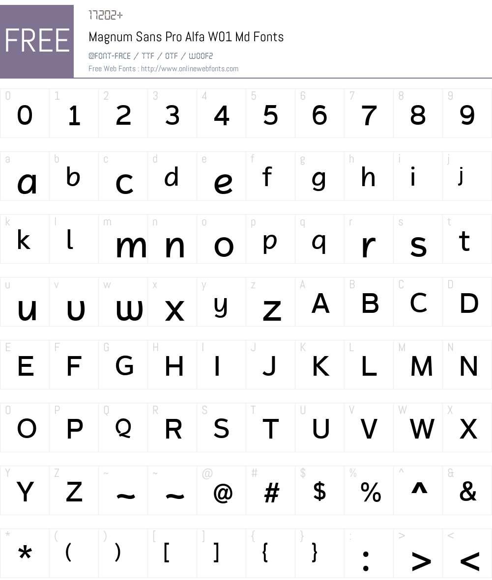 MagnumSansProAlfaW01-Medium Font Screenshots