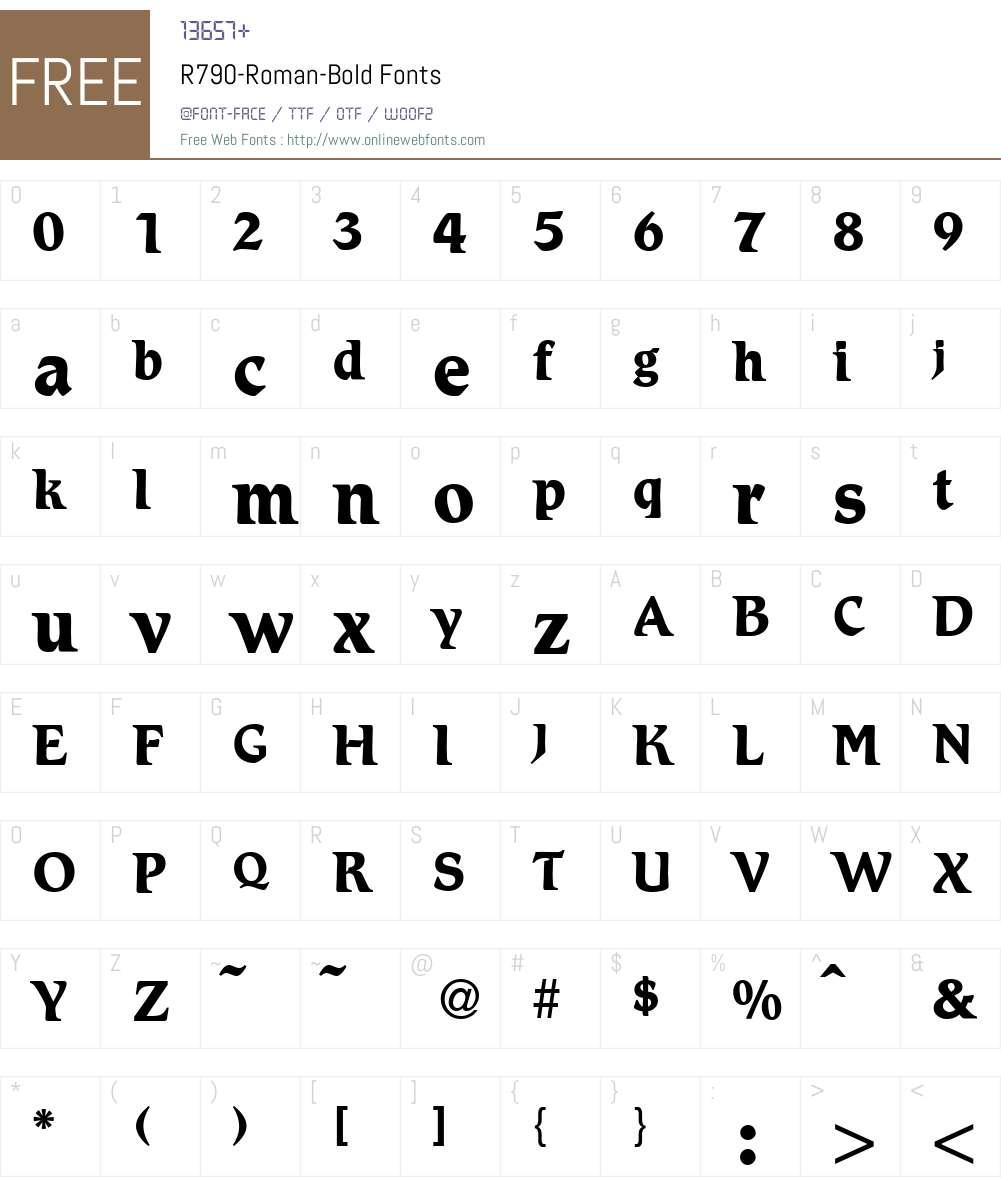 R790-Roman Font Screenshots