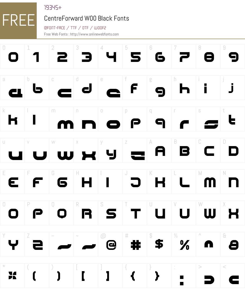 CentreForwardW00-Black Font Screenshots