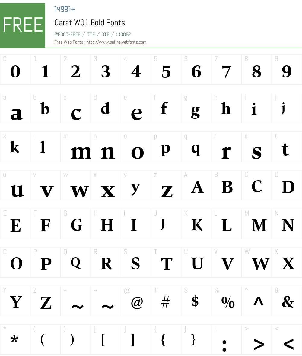 CaratW01-Bold Font Screenshots