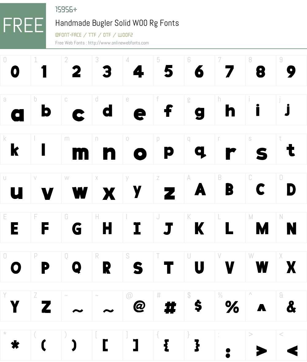 HandmadeBuglerSolidW00-Rg Font Screenshots