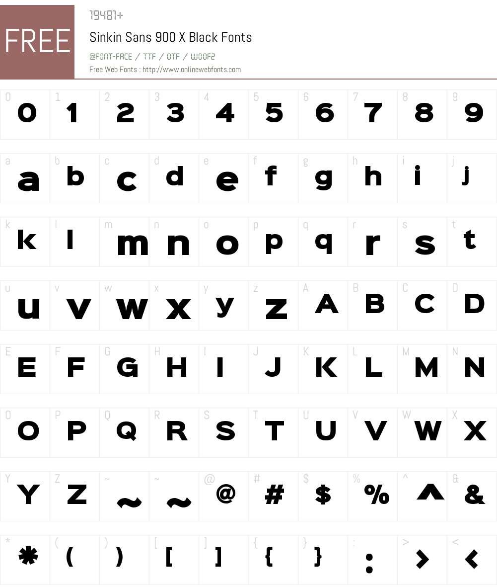 Sinkin Sans 900 X Black Font Screenshots