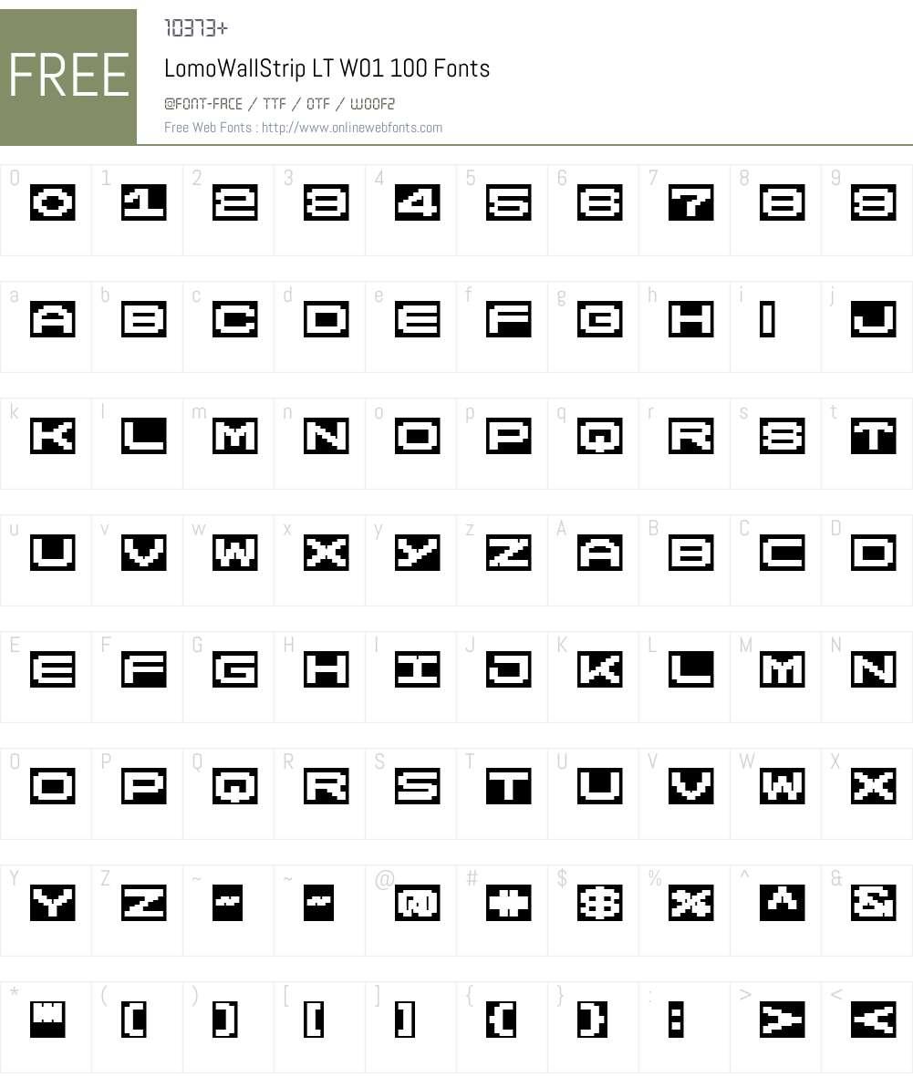 LomoWallStripLTW01-100 Font Screenshots