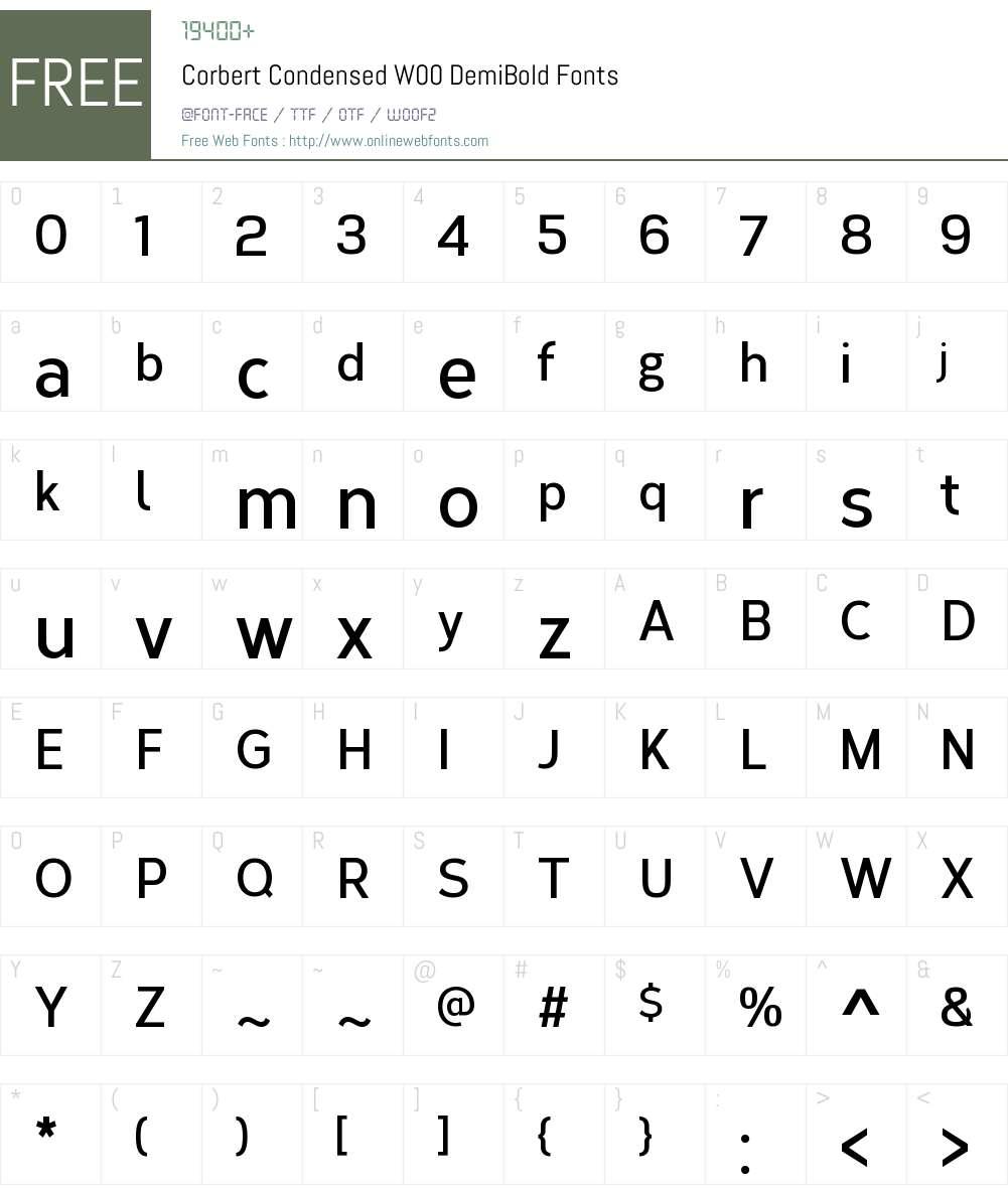 CorbertCondensedW00-DemiBd Font Screenshots