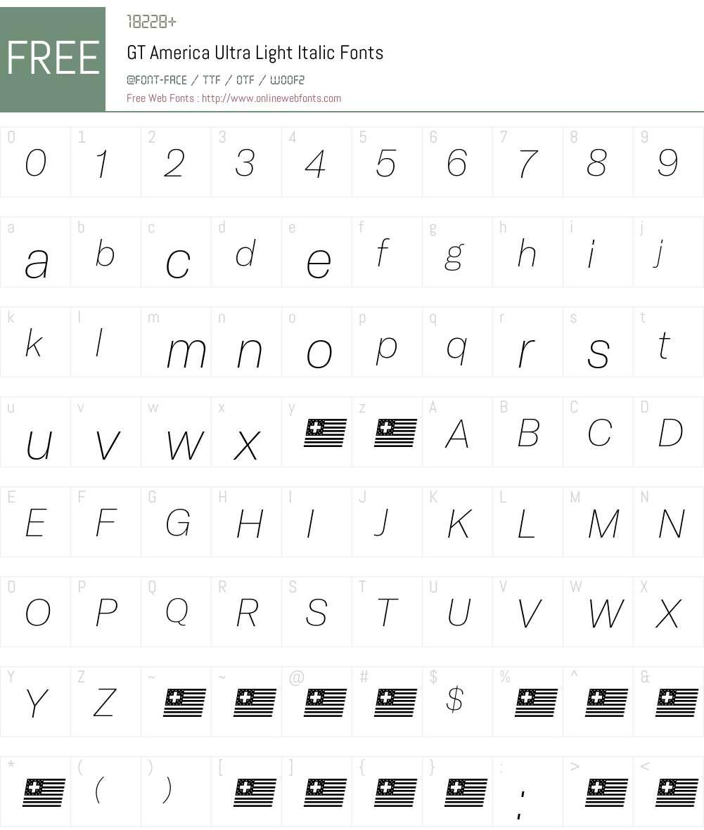 GT America Ultra Light Font Screenshots