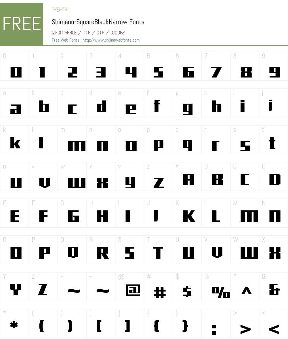 Shimano Font Screenshots