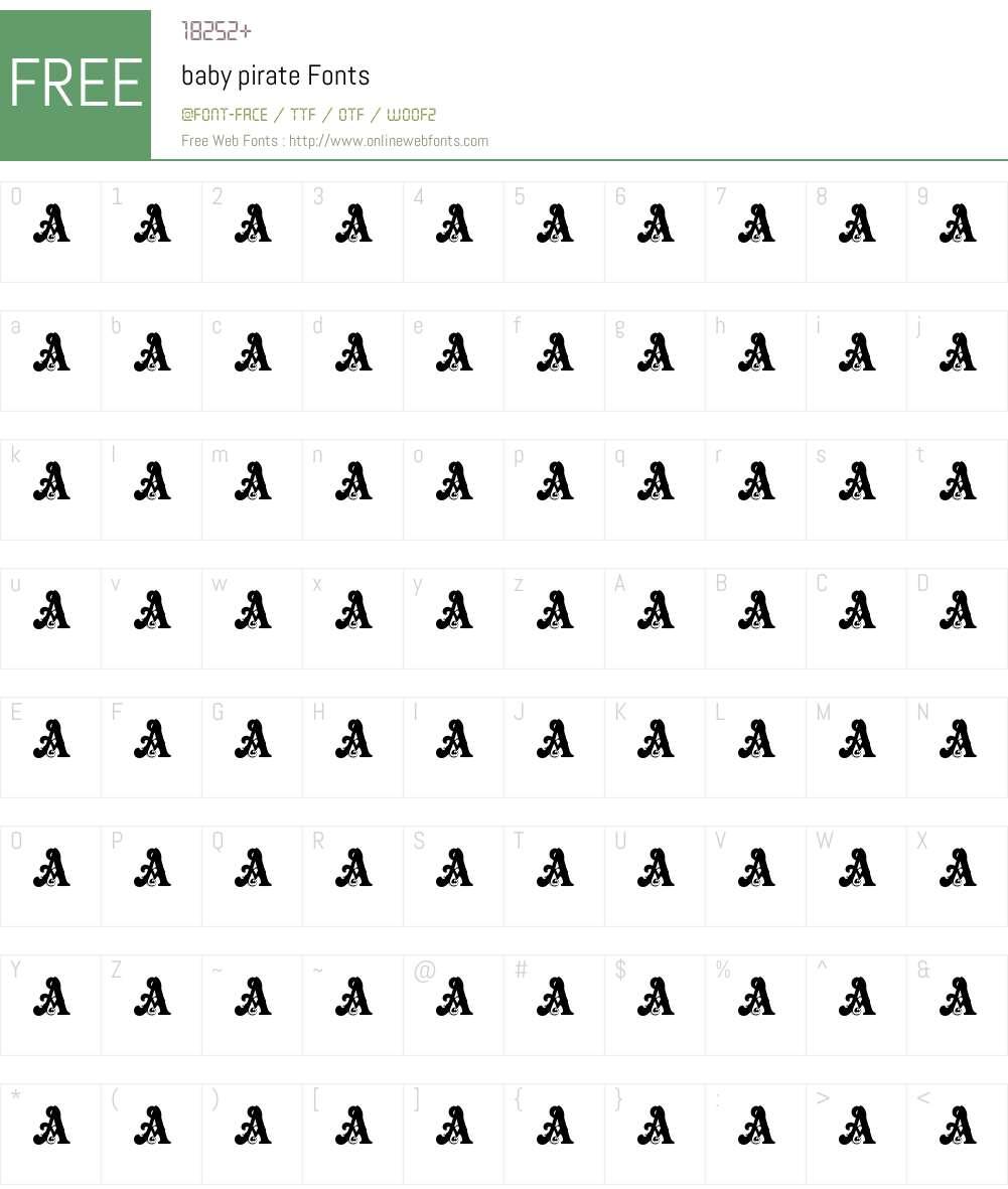 baby pirate Font Screenshots