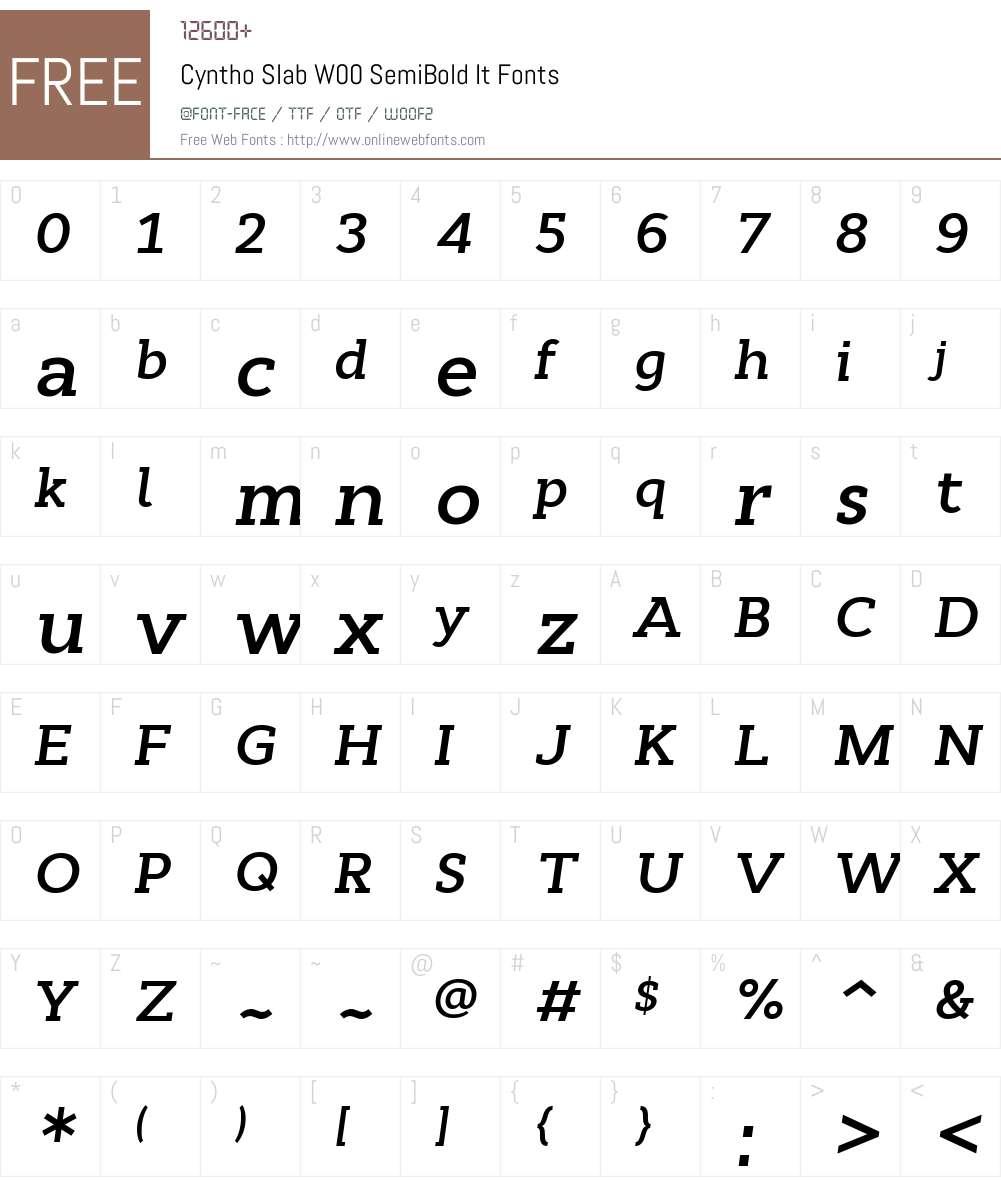CynthoSlabW00-SemiBoldIt Font Screenshots