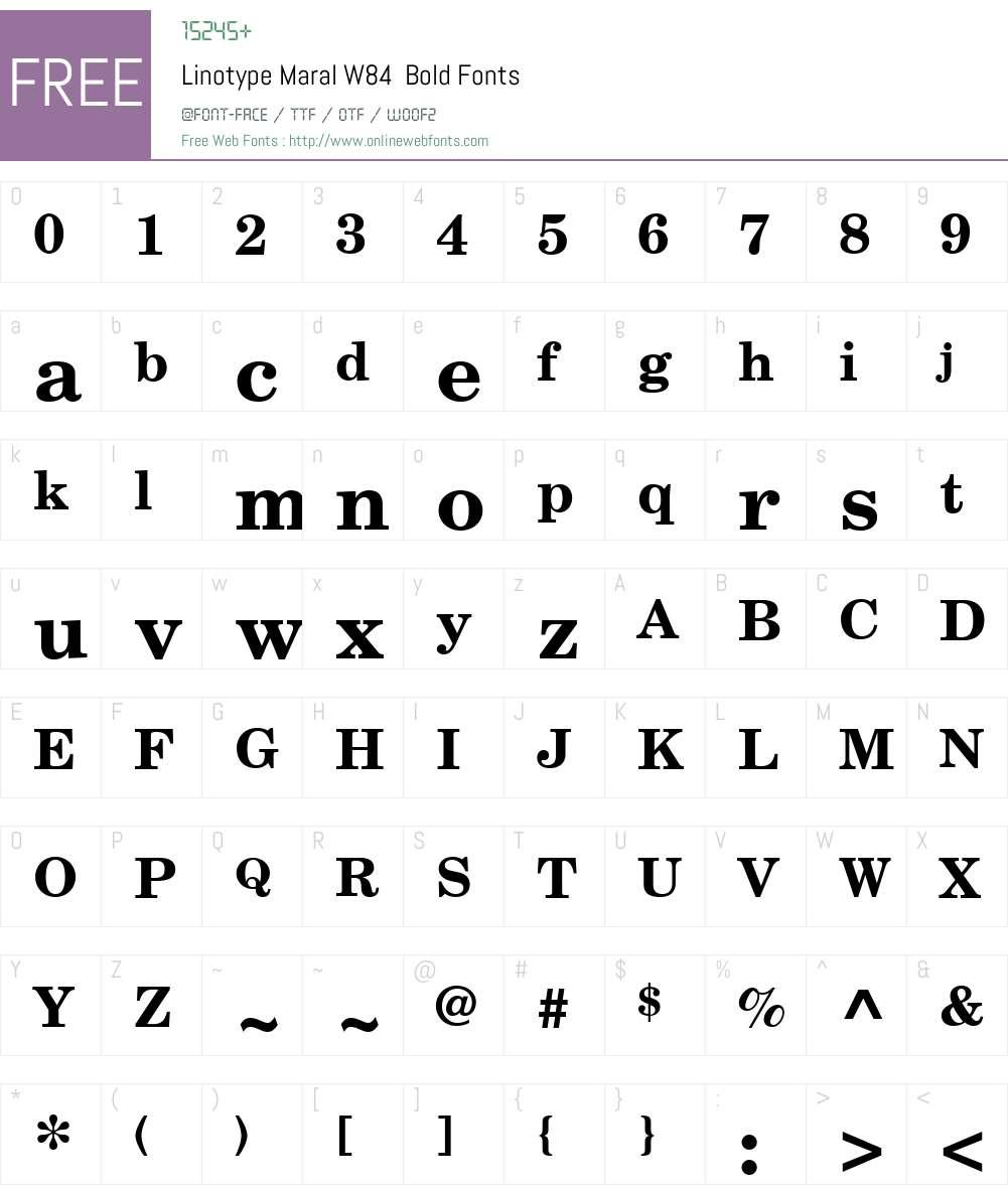 LinotypeMaralW84-Bold Font Screenshots