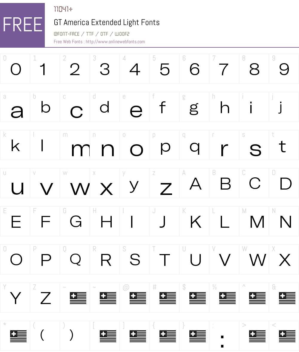 GT America Extended Light Font Screenshots