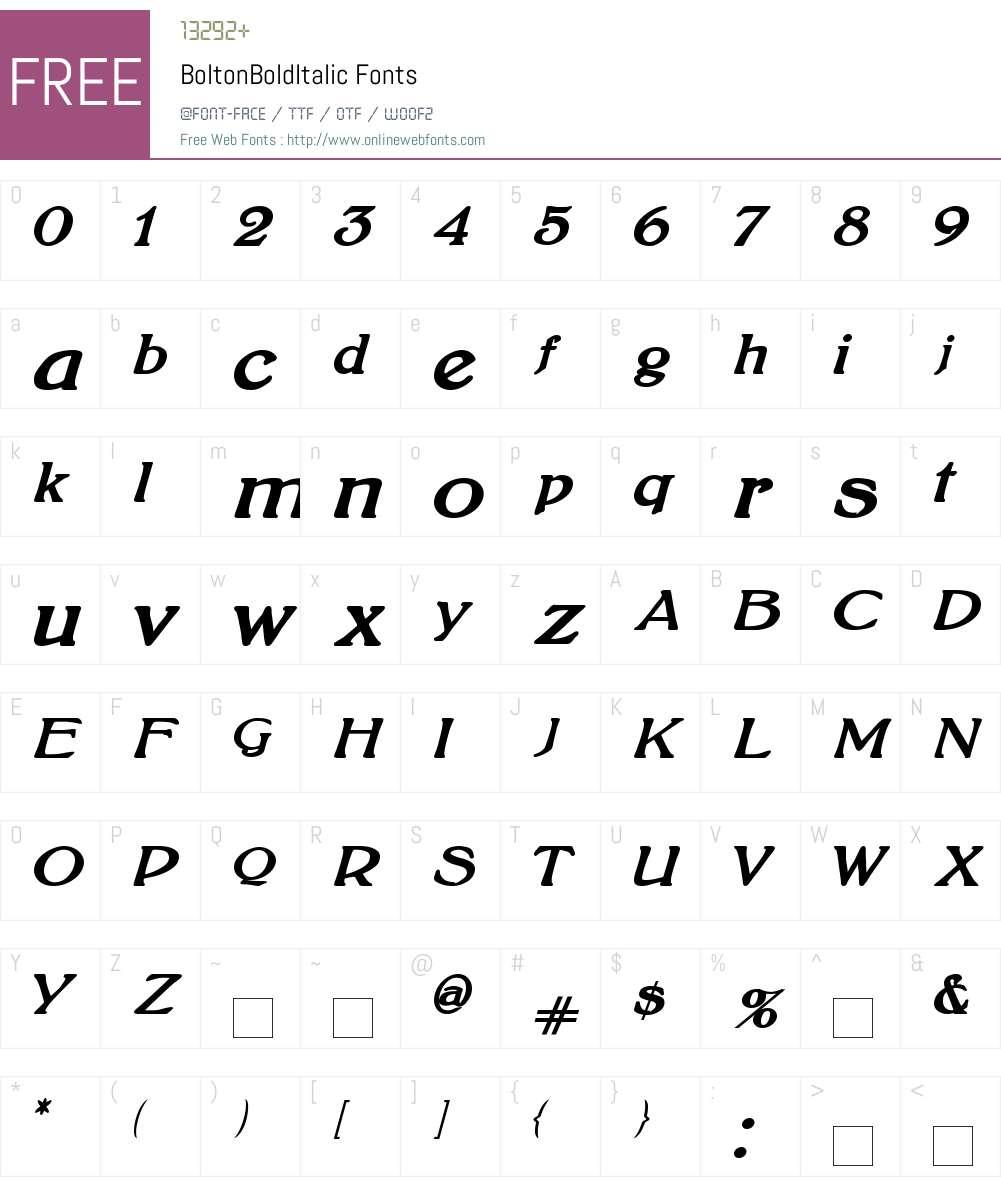 BoltonBoldItalic Font Screenshots