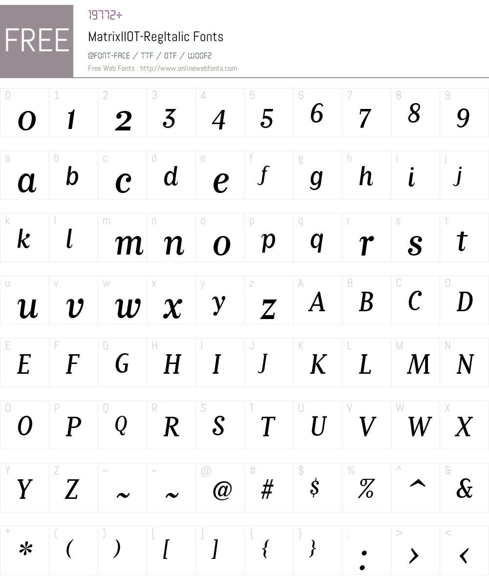 MatrixIIOT-RegItalic Font Screenshots