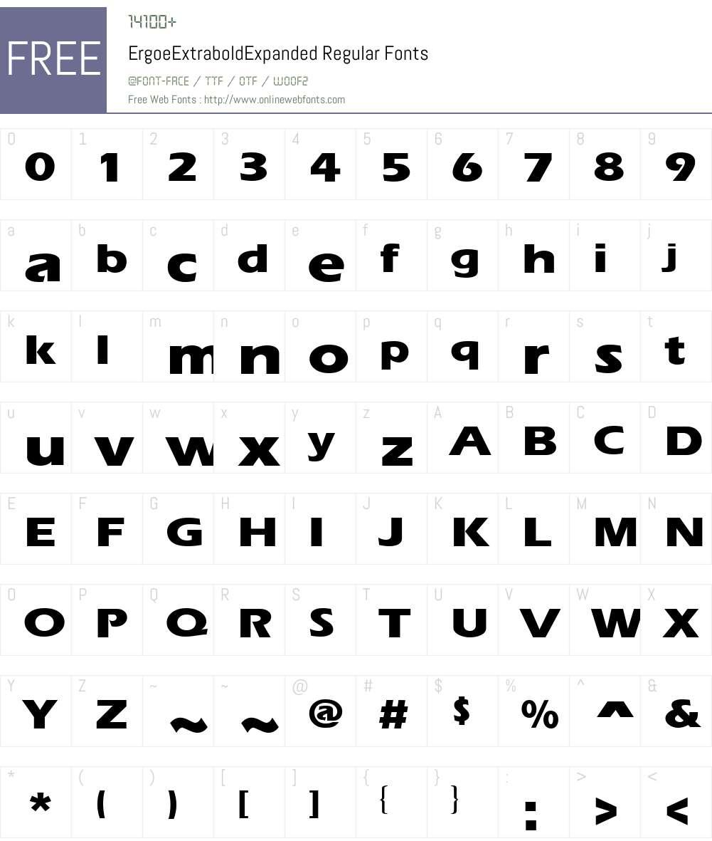 ErgoeExtraboldExpanded Font Screenshots