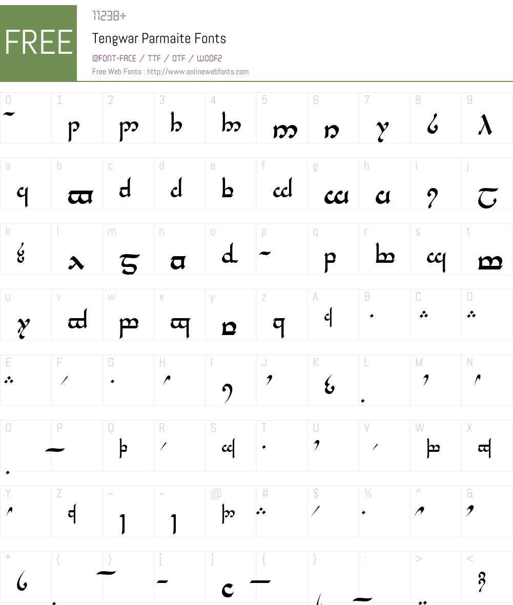 Tengwar Parmaite Font Screenshots