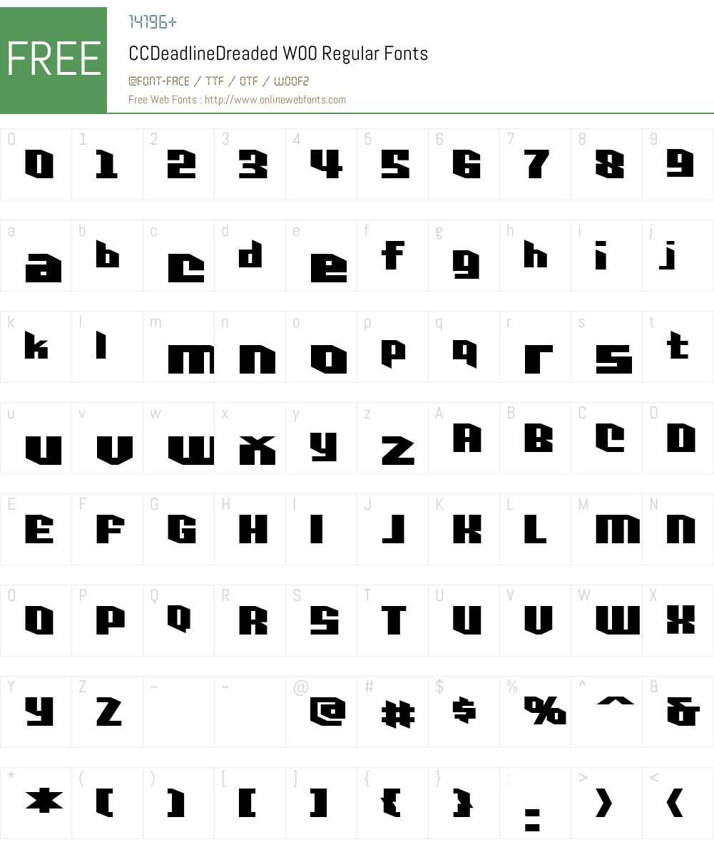 CCDeadlineDreadedW00-Rg Font Screenshots