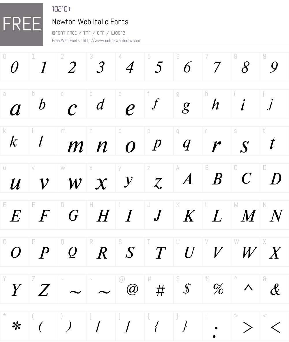 Newton Web Font Screenshots