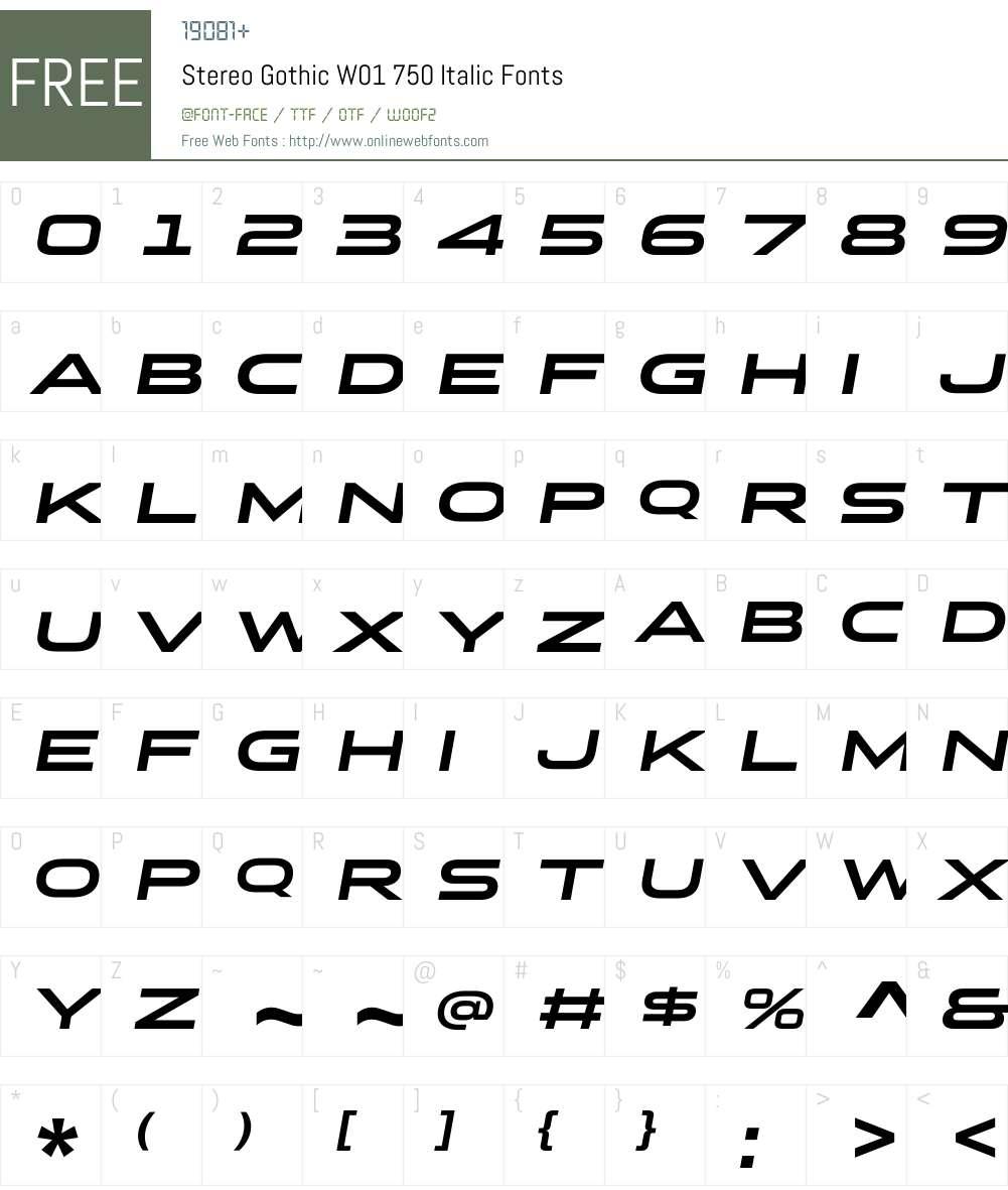 StereoGothicW01-750Italic Font Screenshots