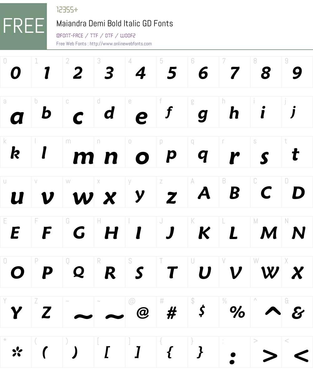 Maiandra Demi Bold Italic GD Font Screenshots
