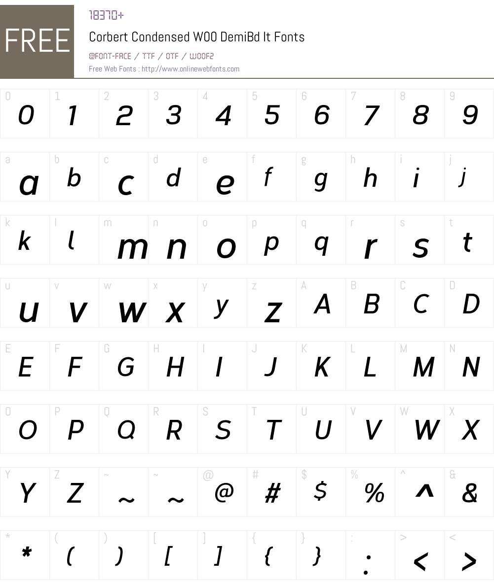 CorbertCondensedW00-DmBdIt Font Screenshots