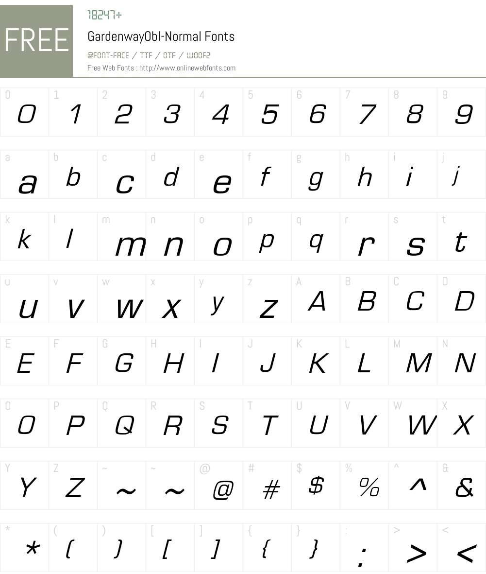 GardenwayObl-Normal Font Screenshots