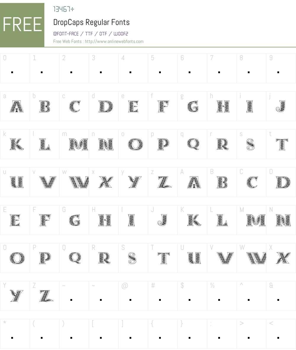 DropCaps Font Screenshots