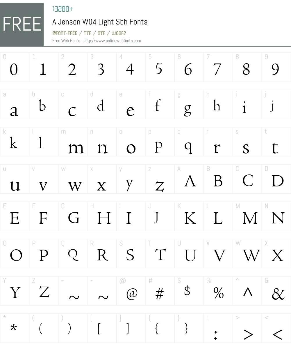 AJensonW04-LightSbh Font Screenshots