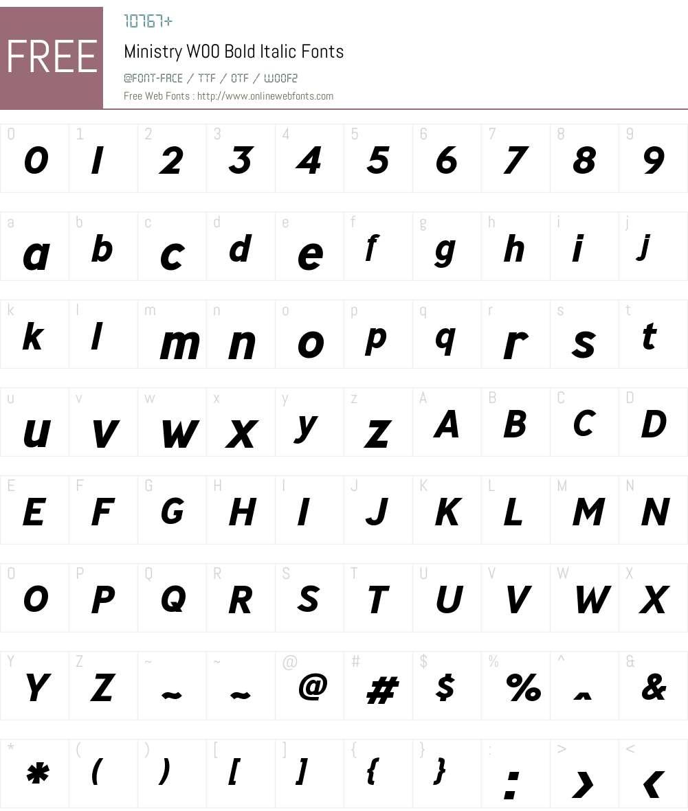 MinistryW00-BoldItalic Font Screenshots