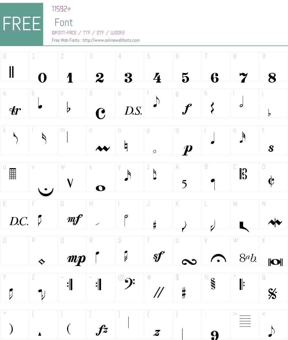 Clef Notes Font Screenshots