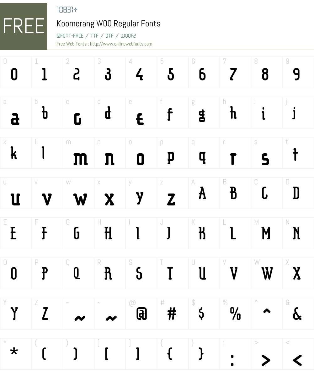 KoomerangW00-Regular Font Screenshots