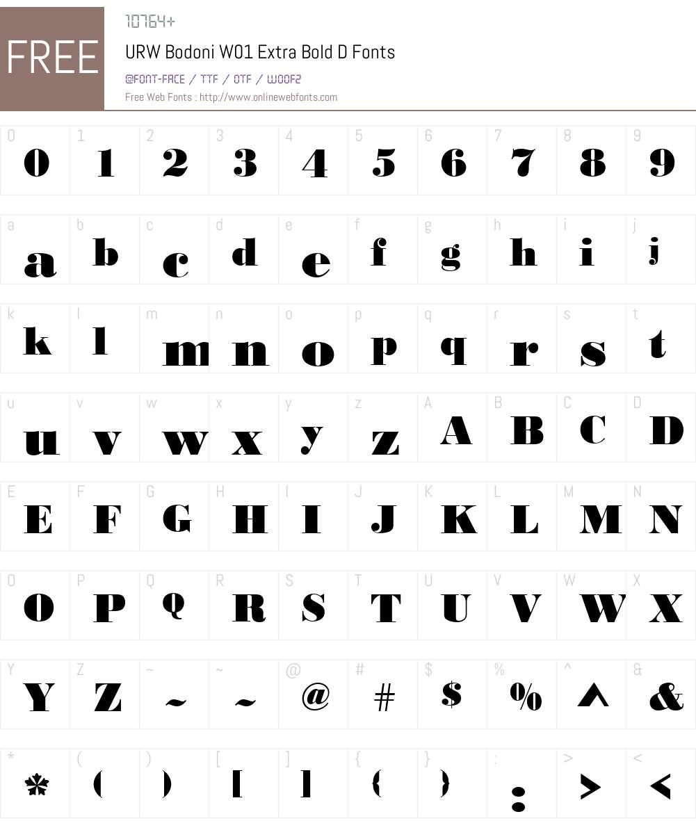 URWBodoniW01-ExtraBoldD Font Screenshots