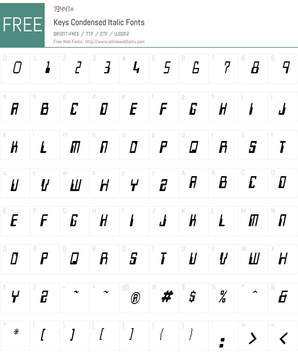 Keys Condensed Font Screenshots