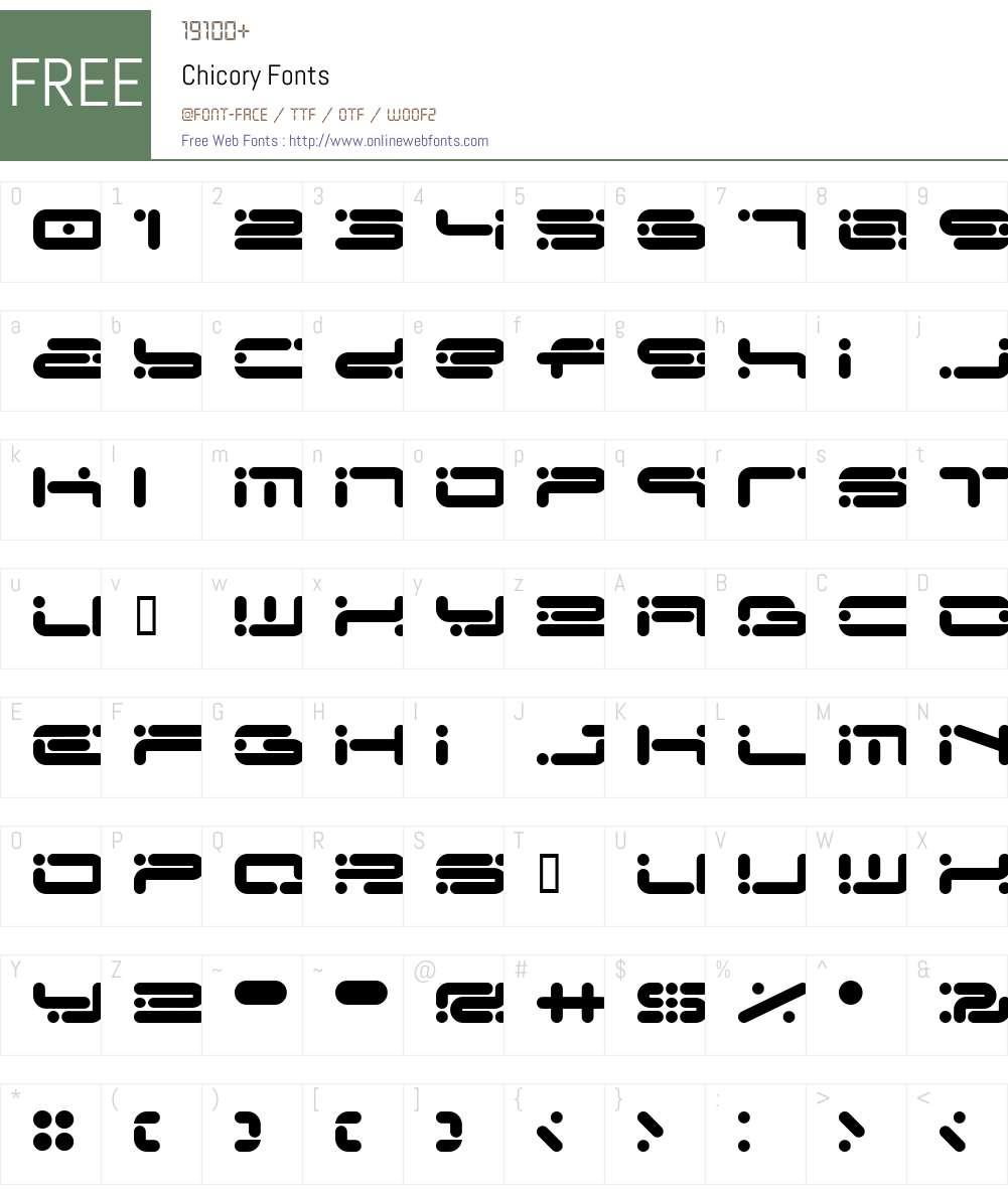 Chicory Font Screenshots
