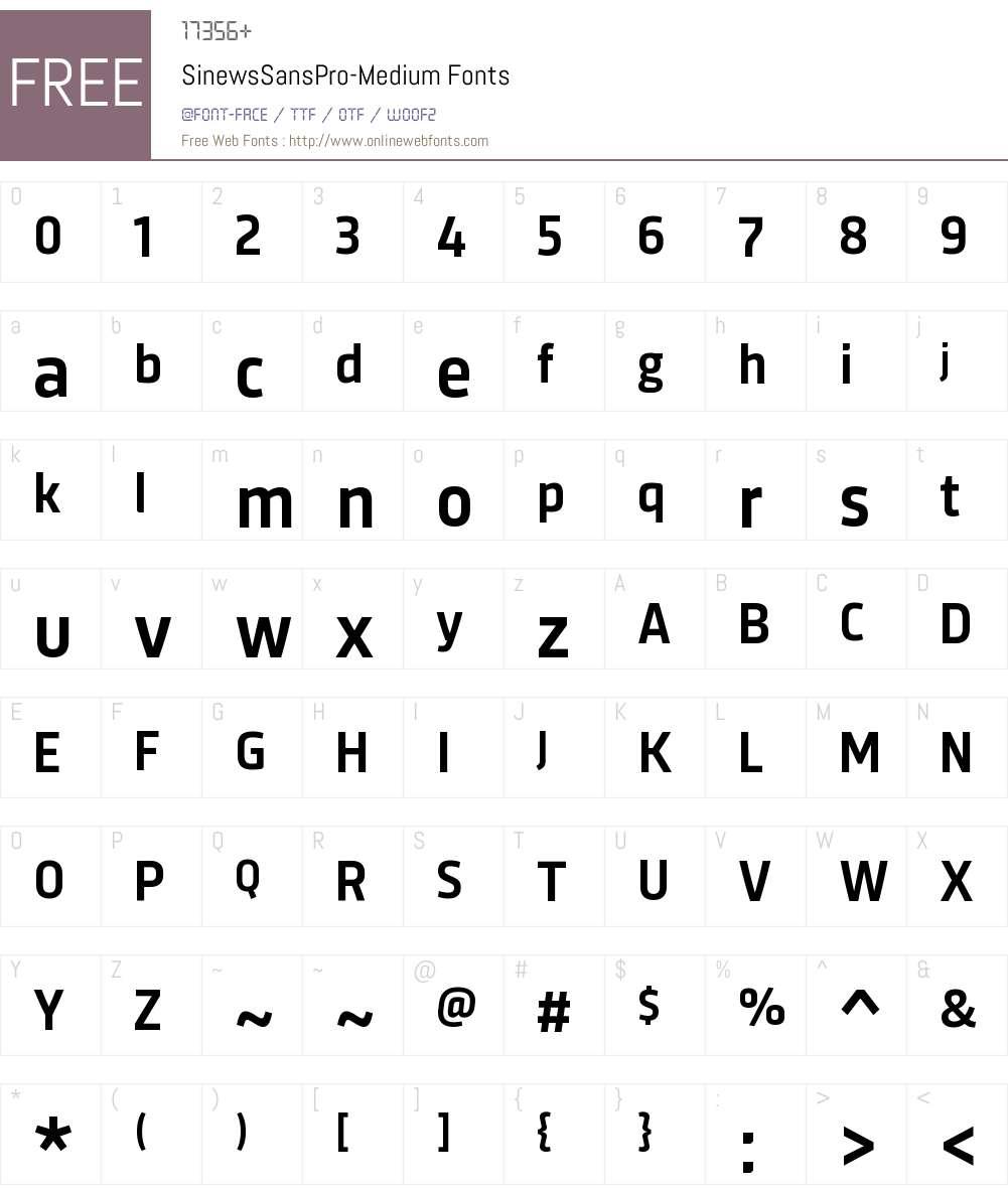 Sinews Sans Pro Medium Font Screenshots