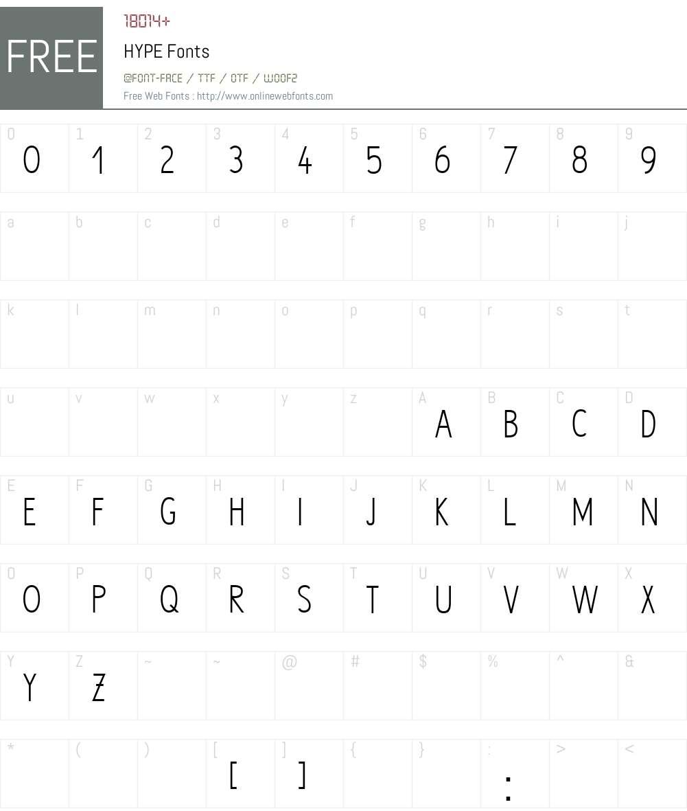 HYPE Font Screenshots