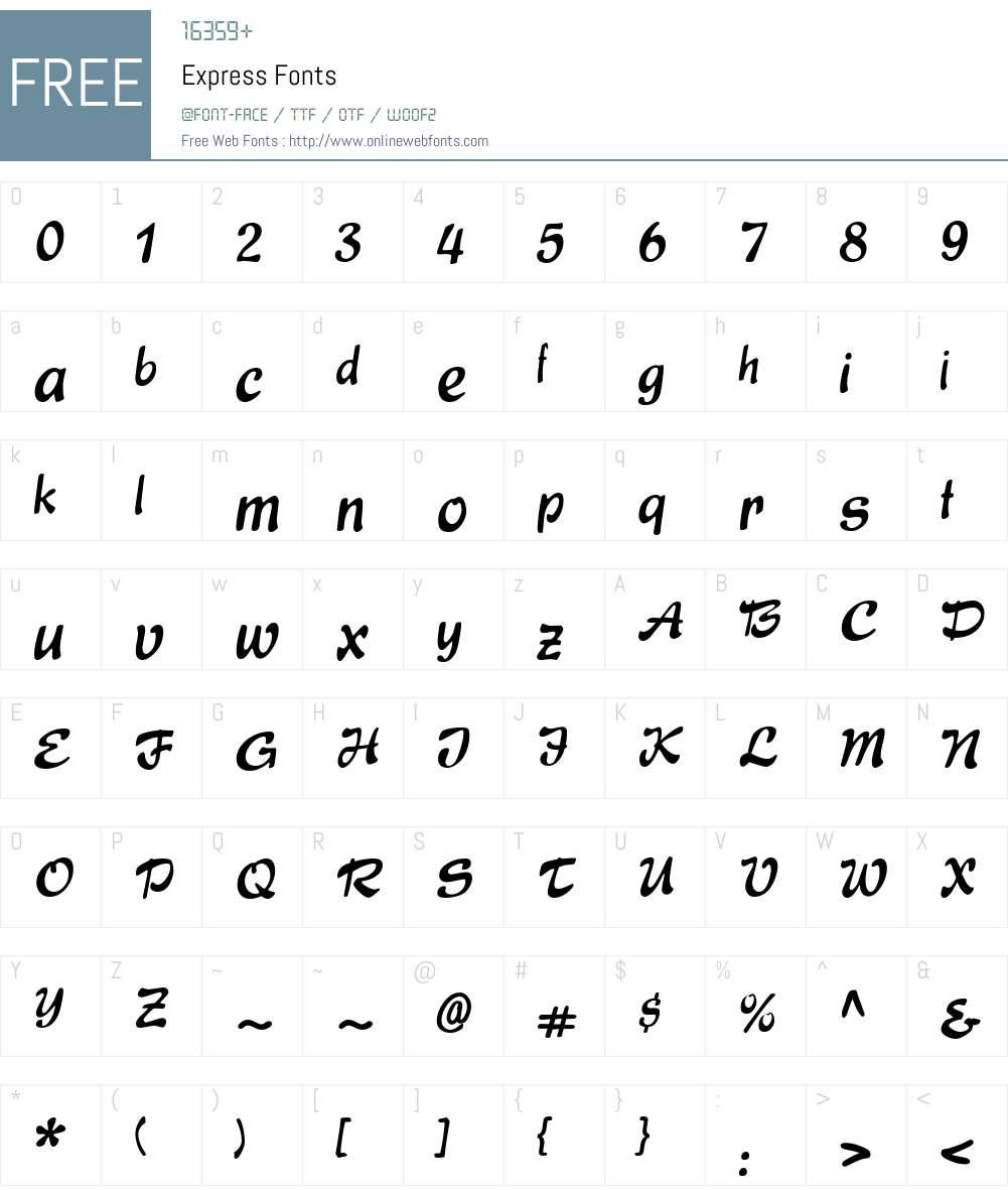 Express Font Screenshots