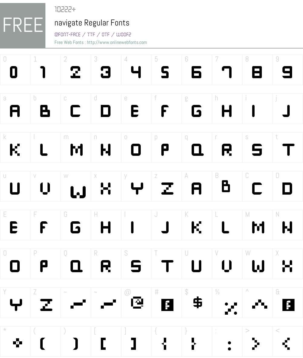 navigate Font Screenshots