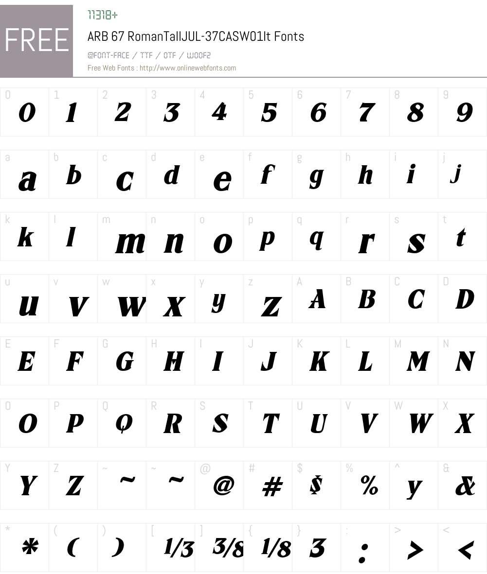 ARB67RomanTallJUL-37CASW01-It Font Screenshots