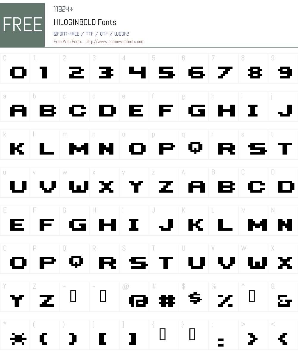 HILOGINBOLD Font Screenshots