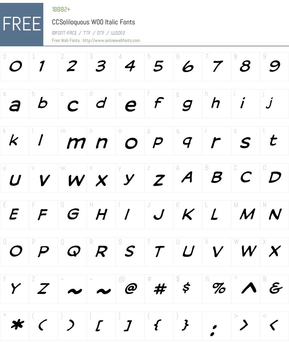 CCSoliloquousW00-Italic Font Screenshots