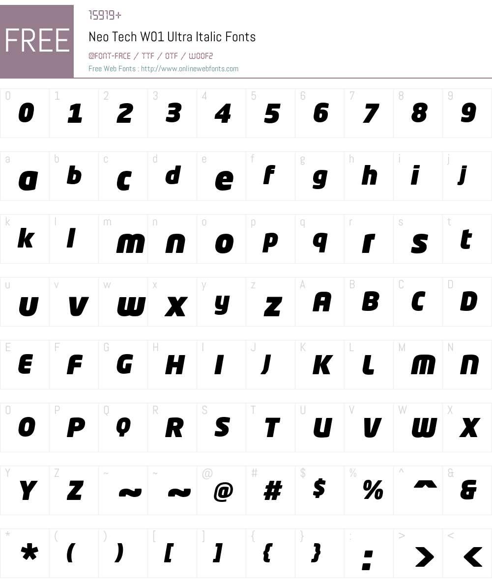 NeoTechW01-UltraItalic Font Screenshots