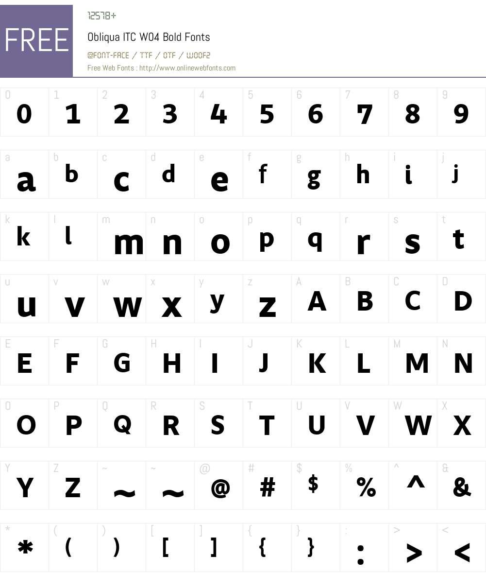 ObliquaITCW04-Bold Font Screenshots