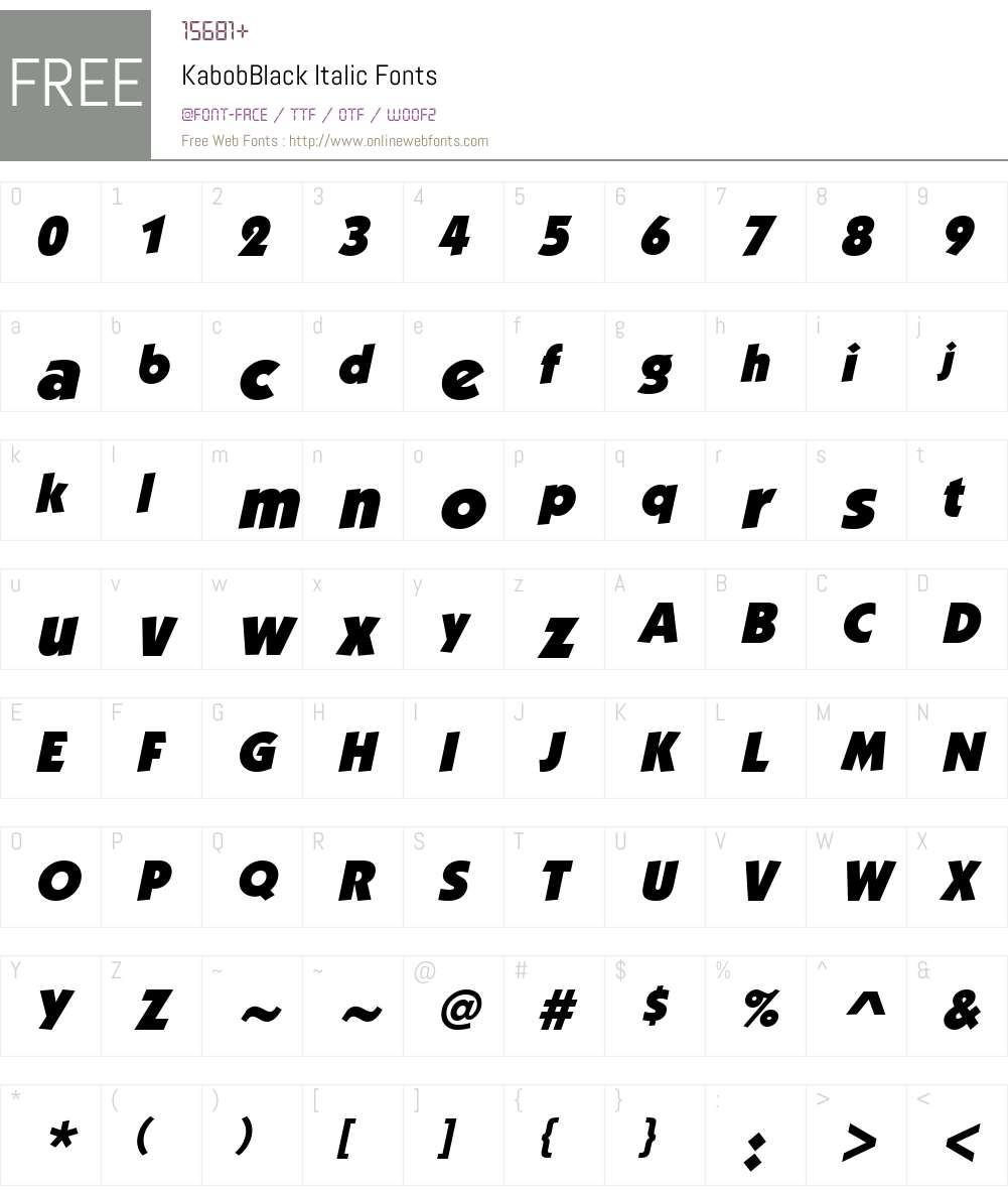 KabobBlack Font Screenshots
