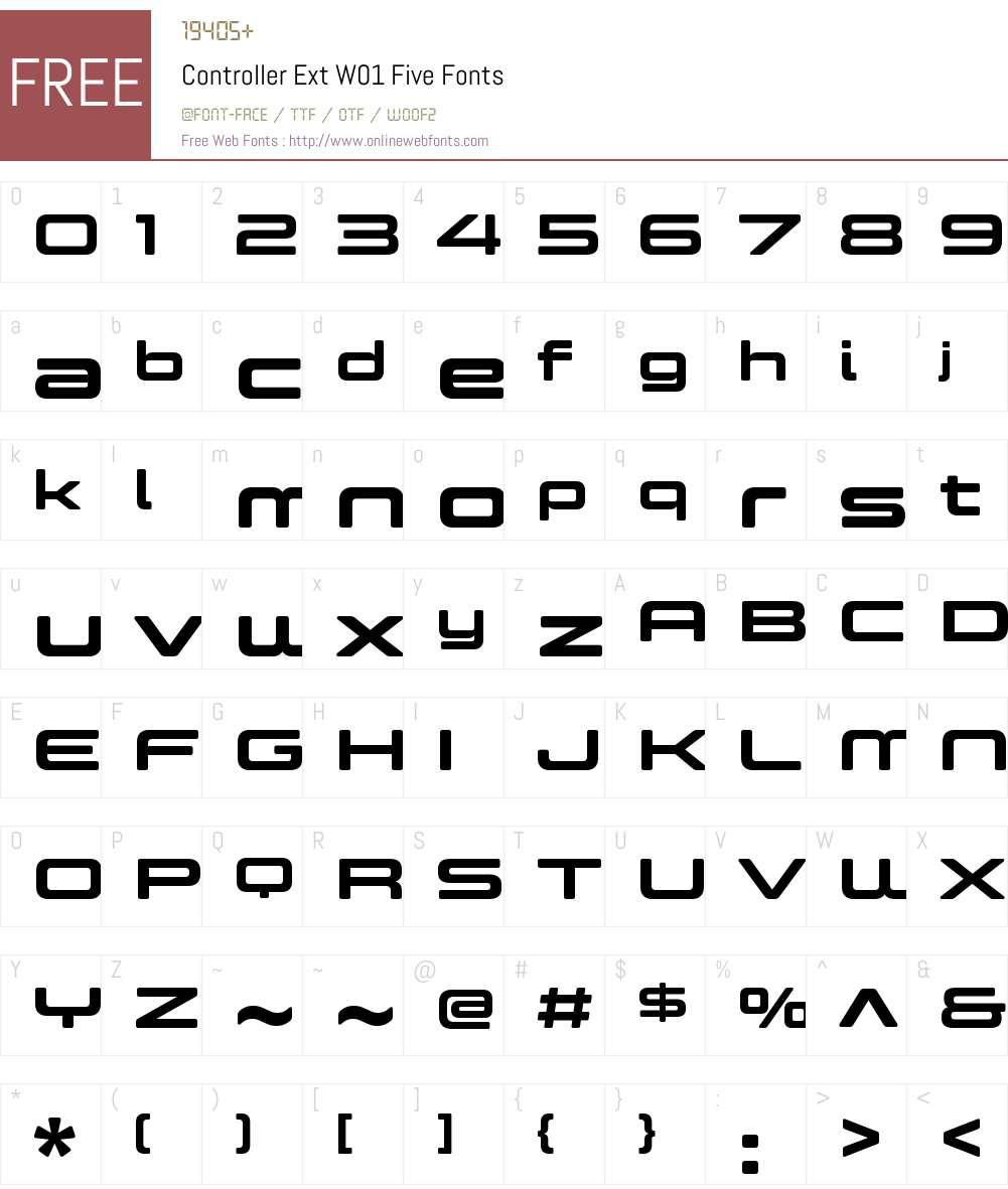 ControllerExtW01-Five Font Screenshots