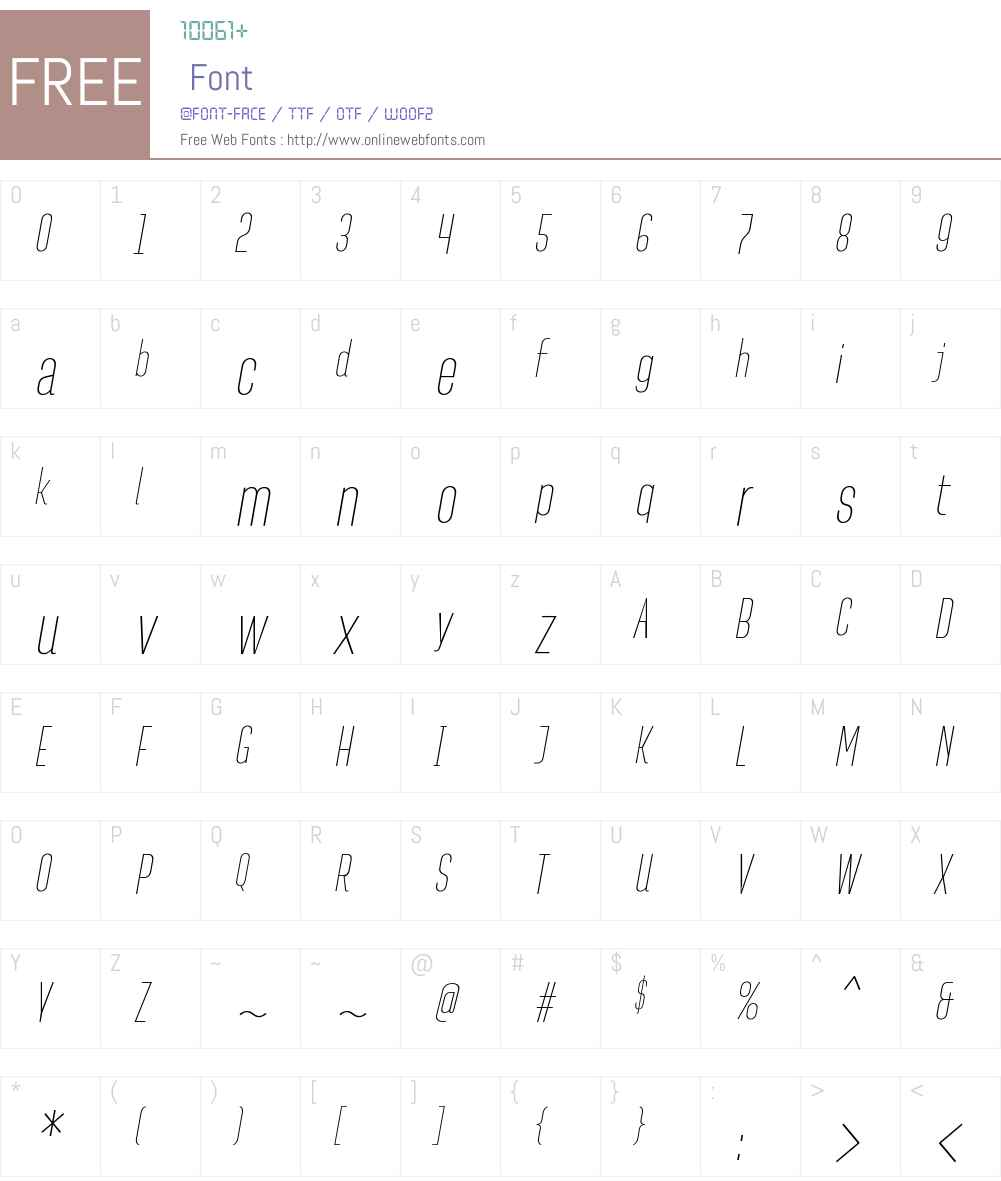 PasarelaW00-Italic Font Screenshots