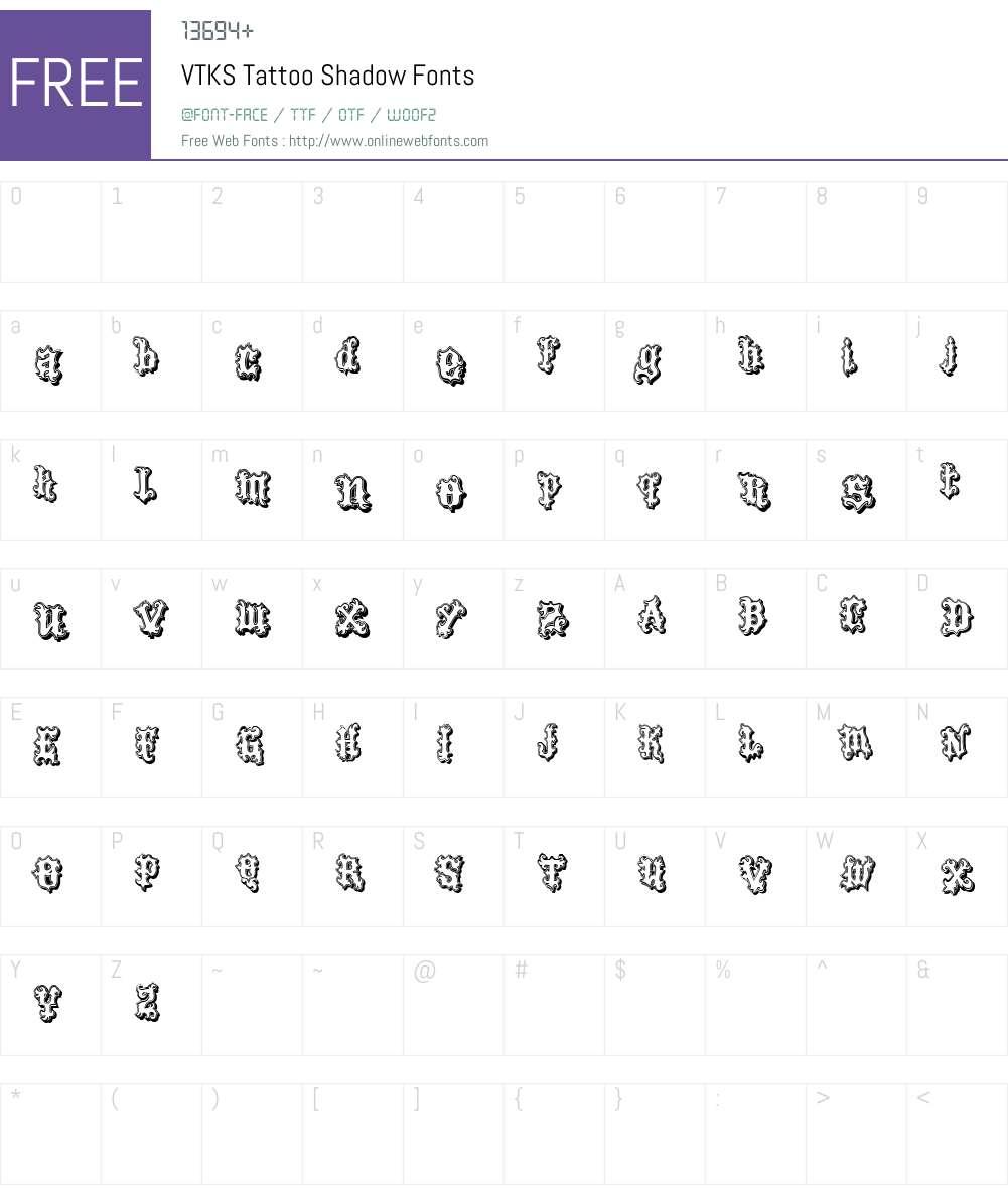 VTKS Tattoo Shadow Font Screenshots