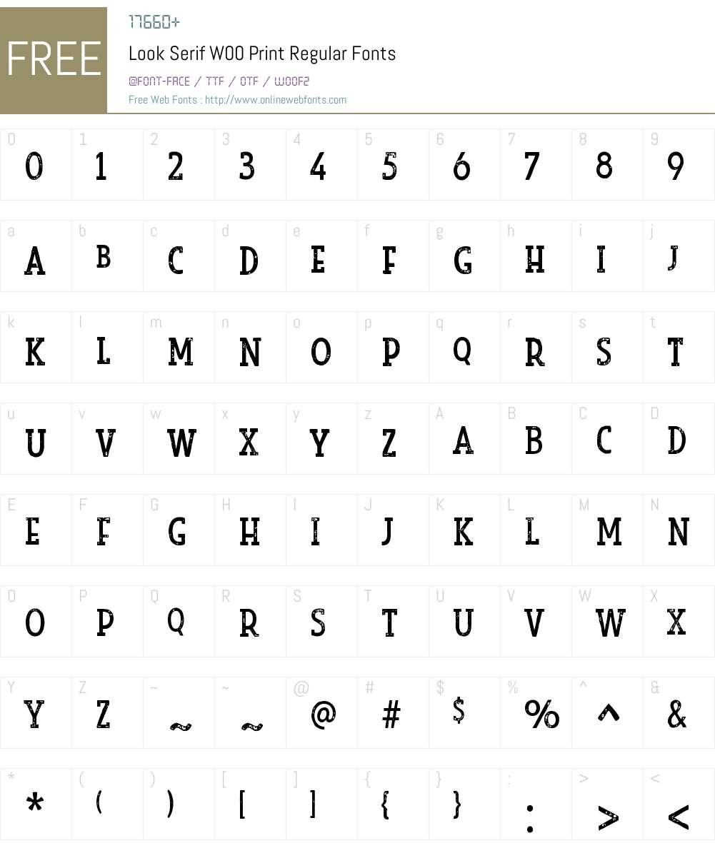 LookSerifW00-PrintRegular Font Screenshots