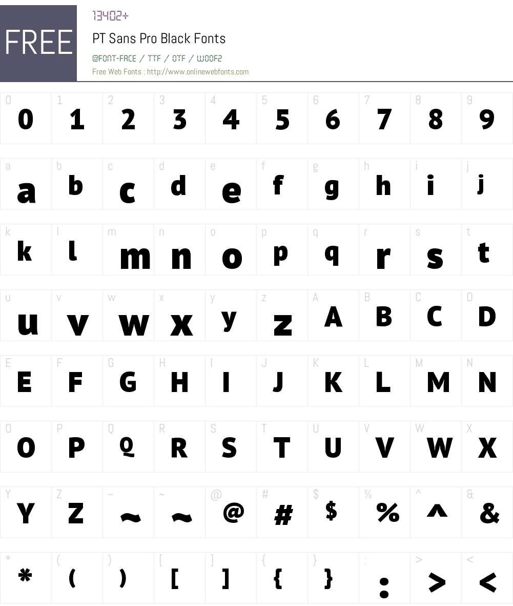 PTSansPro-Black Font Screenshots