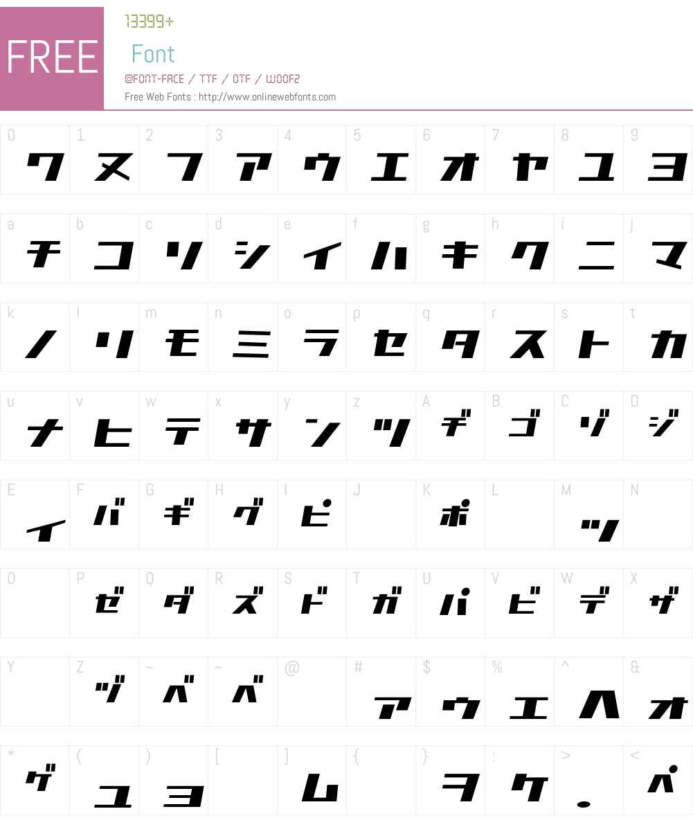 D3 Factorism Katakana Italic Font Screenshots