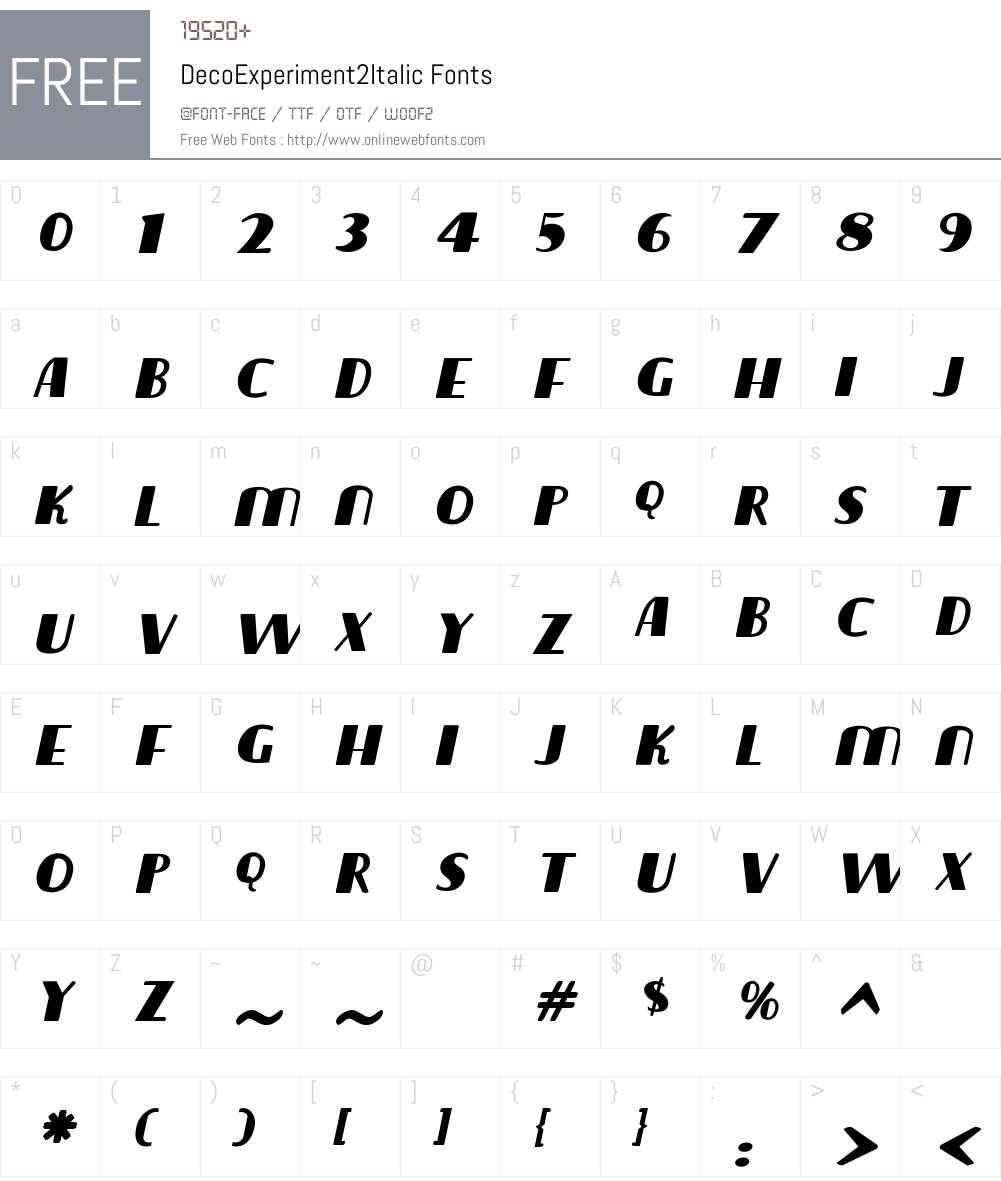 DecoExperiment2Italic Font Screenshots